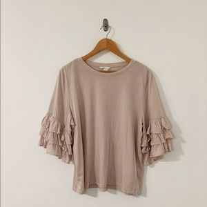 pink shirt with ruffles H&M size L